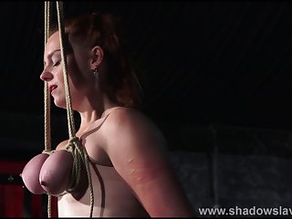 Breast bondage increased by tit torture be worthwhile for redhead amateur slave Fiona