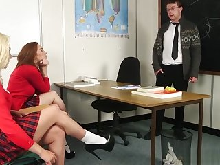 Totalcfnm - Hot Schoolgirls Stroking Teacher's Cock