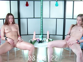 Two teens play with toys. Amazing masturbation competition.