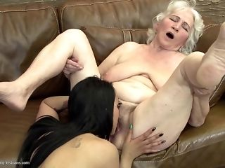 Grandmas display what a real girl/girl fuckfest should glance like free carnal knowledge