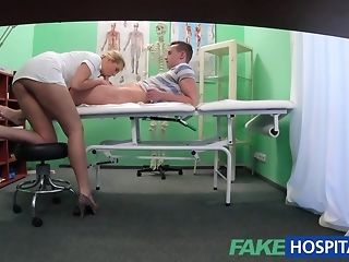 Boy catches a sumptuous nurse to internal cumshot her within reach faux medical center worn out sex