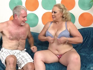 Broad in the beam mature blonde MILF Stunning Summer gets cum mainly her huge tits