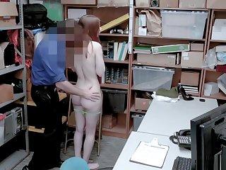 Hot Skinny Redhead Teen Shoplifter Gets Caught Stealing