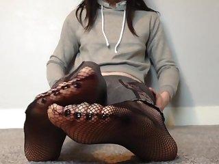 Fishnet pantyhose foot fetish teasing