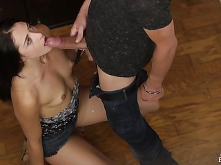 Tiny tits darling sucks his big cock sloppily
