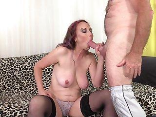 Eaten away mature redhead Zoe Matthews gets cum on face from an old challenge