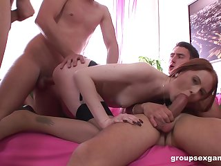 Cute redhead tries a score of men be useful to insane fucking