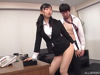 Sweet Asian Kurokawa Sumire pleses hard boss's penis connected with his rendezvous