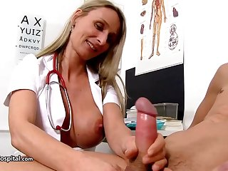 Steamy nurse is wearing fabulous uniform to the fullest toying with her patient's rock stiff meat stick