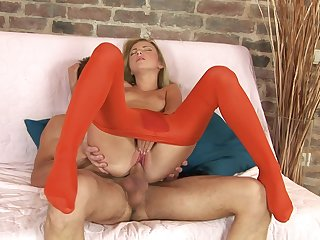 Be wary blowing hard sex with a skinny doll in red pantyhose
