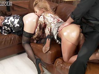 Oiled clothed girls Nikky Thorne coupled with Tiffany Doll in triptych