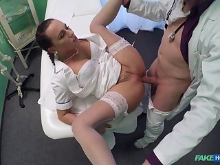 Unnerved babe takes it in both holes during a doctor's exam