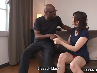 Japanese girl Tomoka Sakurai shows her dripping pussy to coloured man