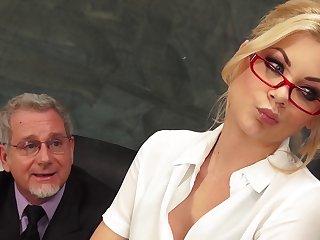 Blonde secretary Riley Steele in miniskirt fucked by her boss