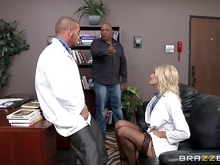 Horny blonde doctor Audrey Operation loves to essay copulation in her office