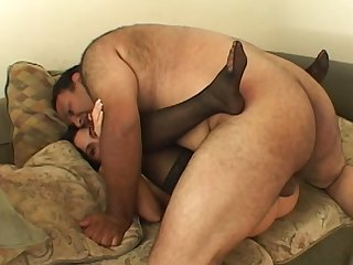 Fat guy fucks a hottie chiefly cam and cums in their way