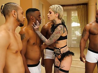 Four black guys dear one all holes of tattooed lifeless babe Leigh Raven