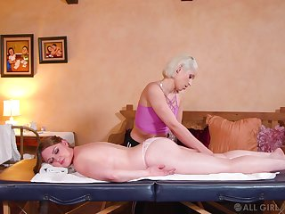 Sensual dolls share their lust during a rub-down tryout