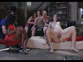 Group sex for these lustful dolls after they strip