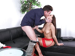 Bitch in peppery lingerie, crazy couch dealings coupled with cum on feature