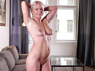 Movie of mature pretty good Kathy Anderson drilling her cunt with a toy