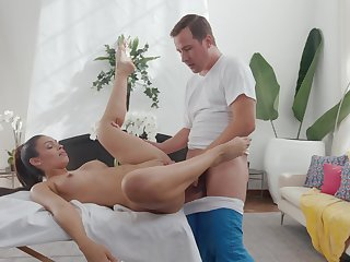 Adorable toddler sure loves the masseur's big inches