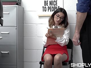 Nerdy young babe gets caught stealing and also fucked