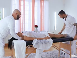 Hard dealings during massage for a perfect Latina with big tits