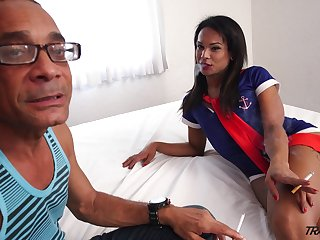 Lecherous tranny with big ass Melk Ross goes coal-black be incumbent on the first time