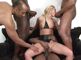 Brutal blonde slattern Linda Rat gets gangbanged by blackguardly dudes