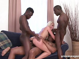 Black hard up persons throat together with gag blonde bird in anal gangbang