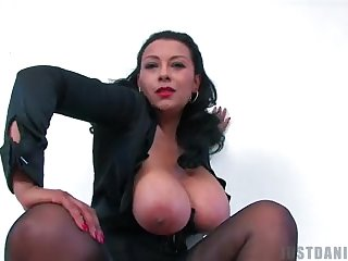 Big tits, Boobs, Brunette, Bus, Lingerie, Mature, Solo, Stockings, Tits